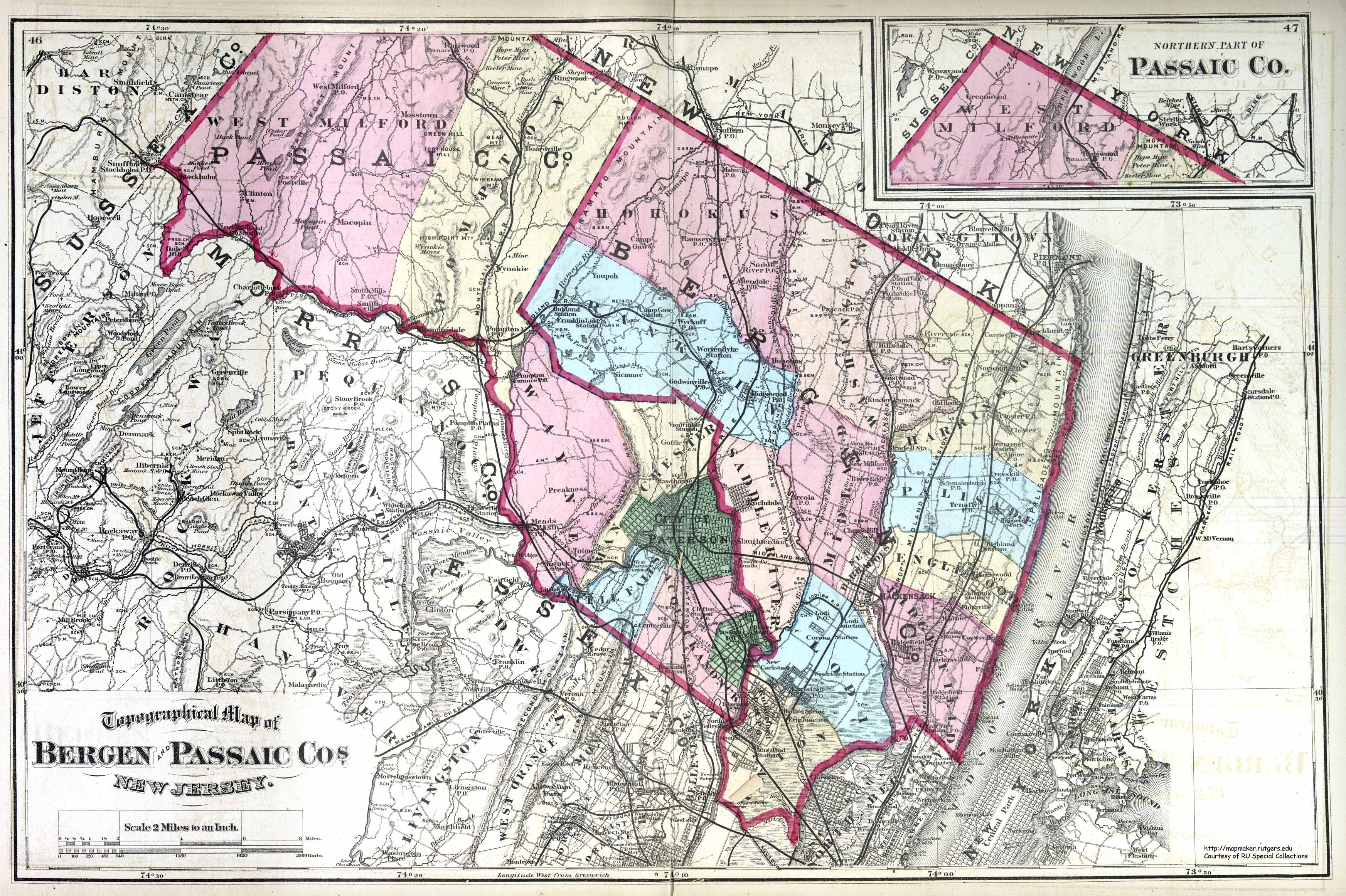 Historical Bergen County New Jersey Maps - County map of new jersey