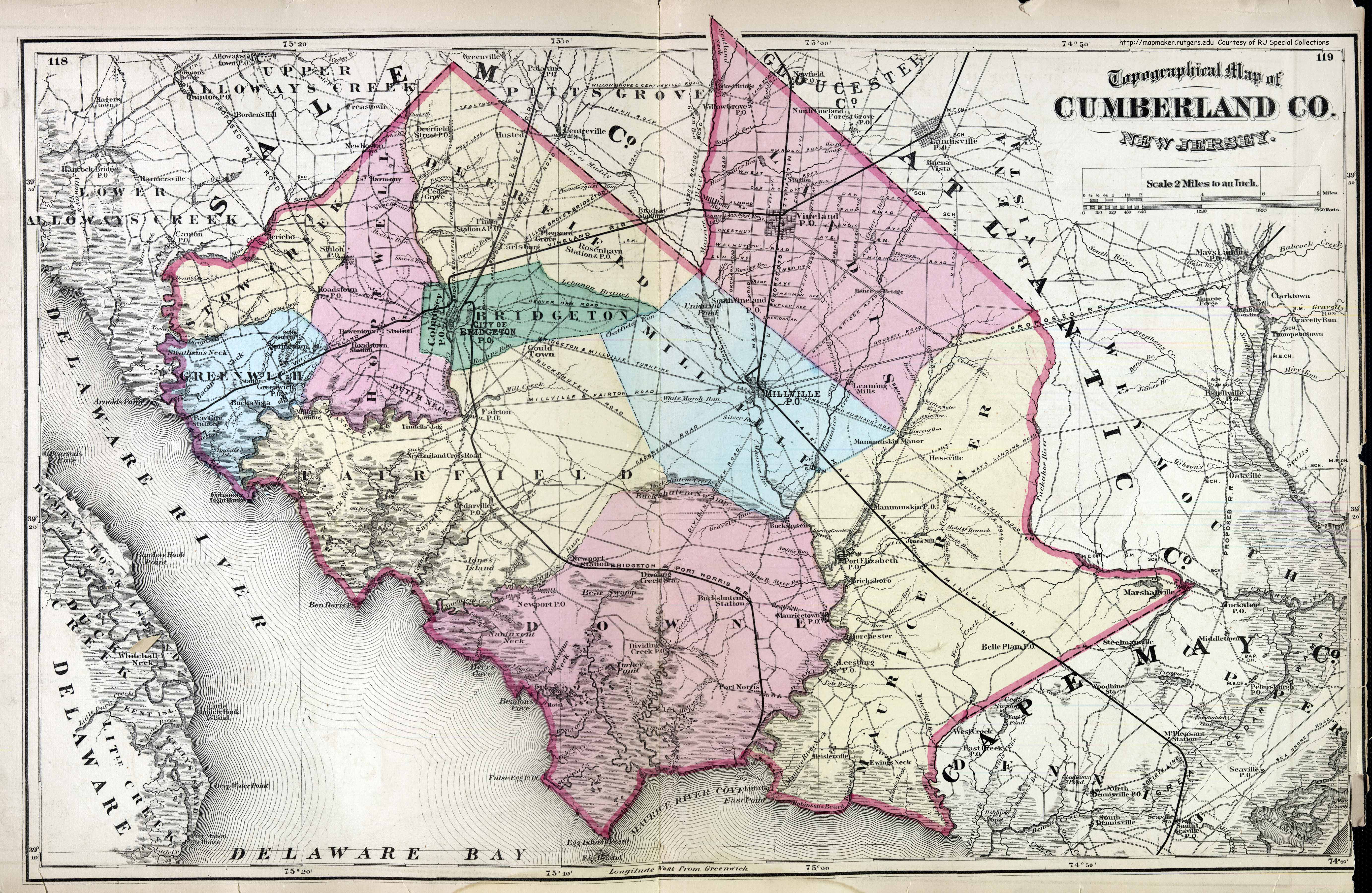 New Jersey Historical Maps - Map of new jersey counties