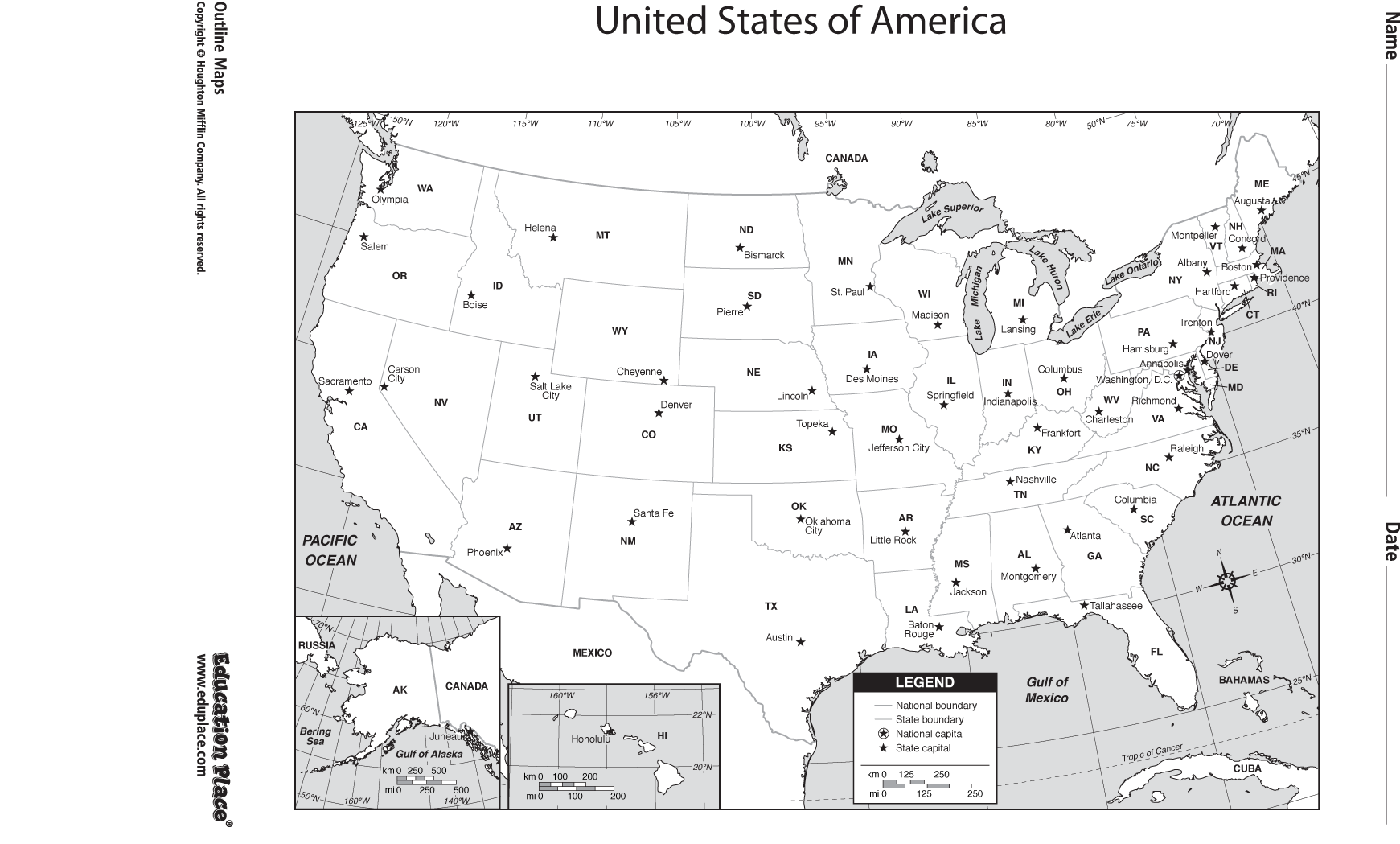 Blank Us Map For Capitals Tragomme Map United States With - Map of the us with longitude and latitude