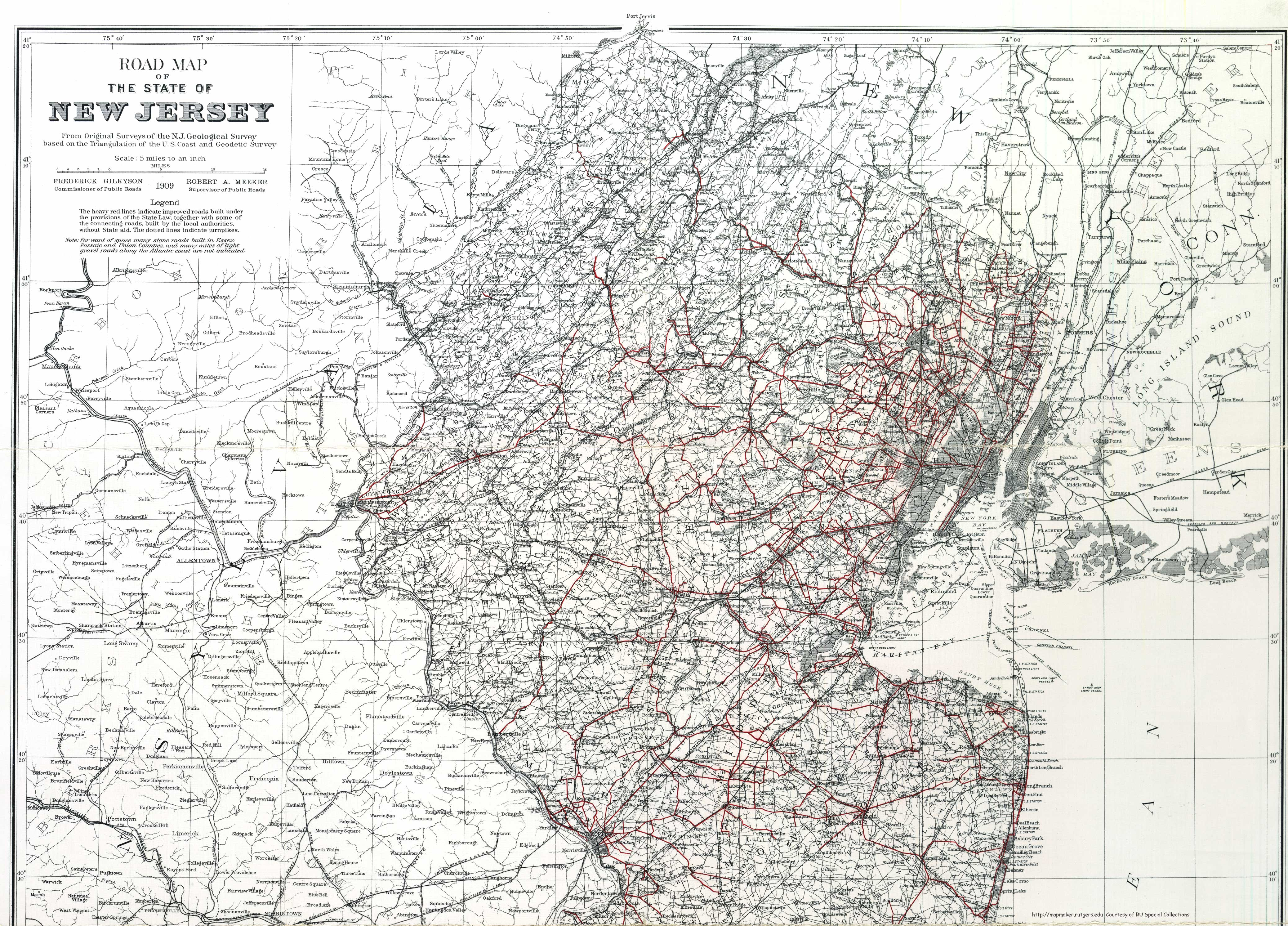 New Jersey Historical Maps - Nj road map