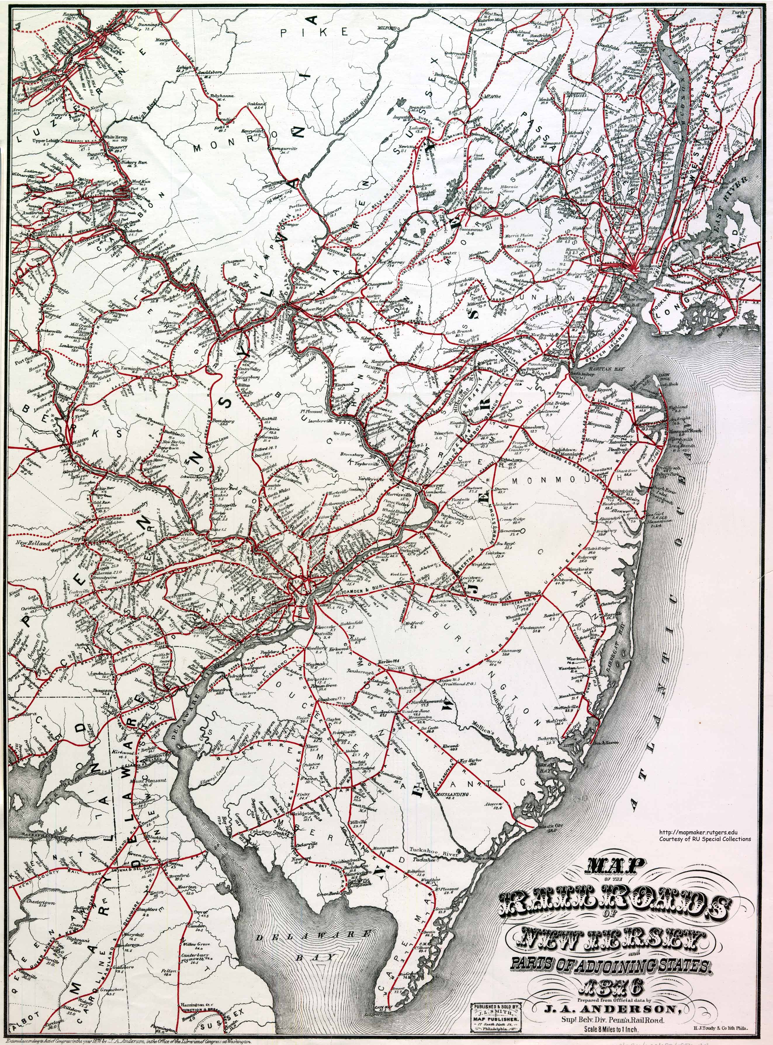 railroads of new jersey and adjacent state . historical new jersey railroad maps