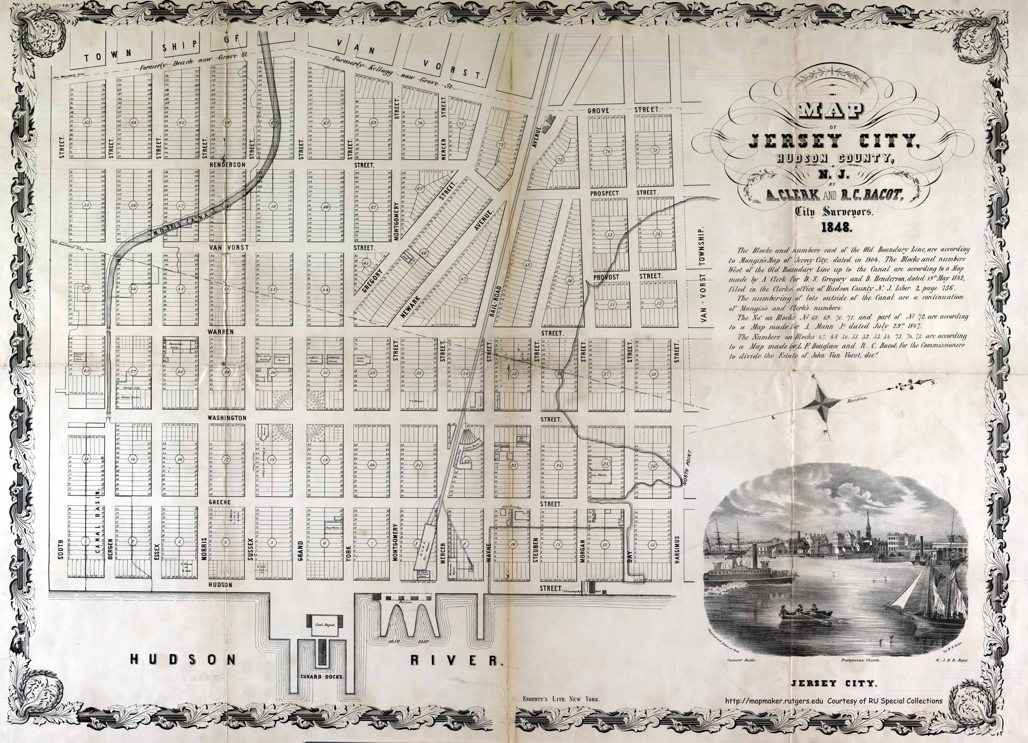 Historical Hudson County New Jersey Maps - New jersey city map
