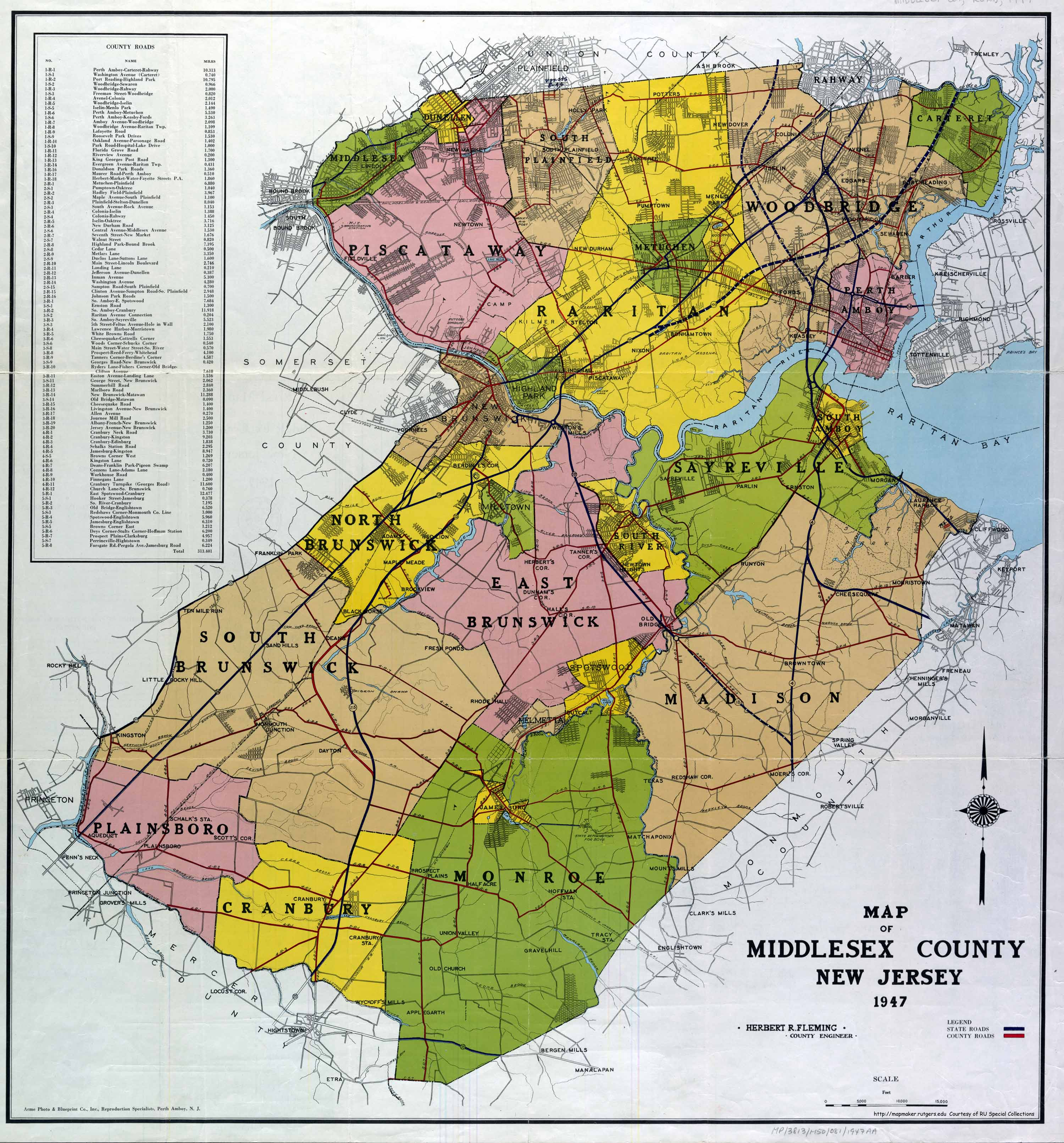 Historic Middlesex County Maps - Nj road map