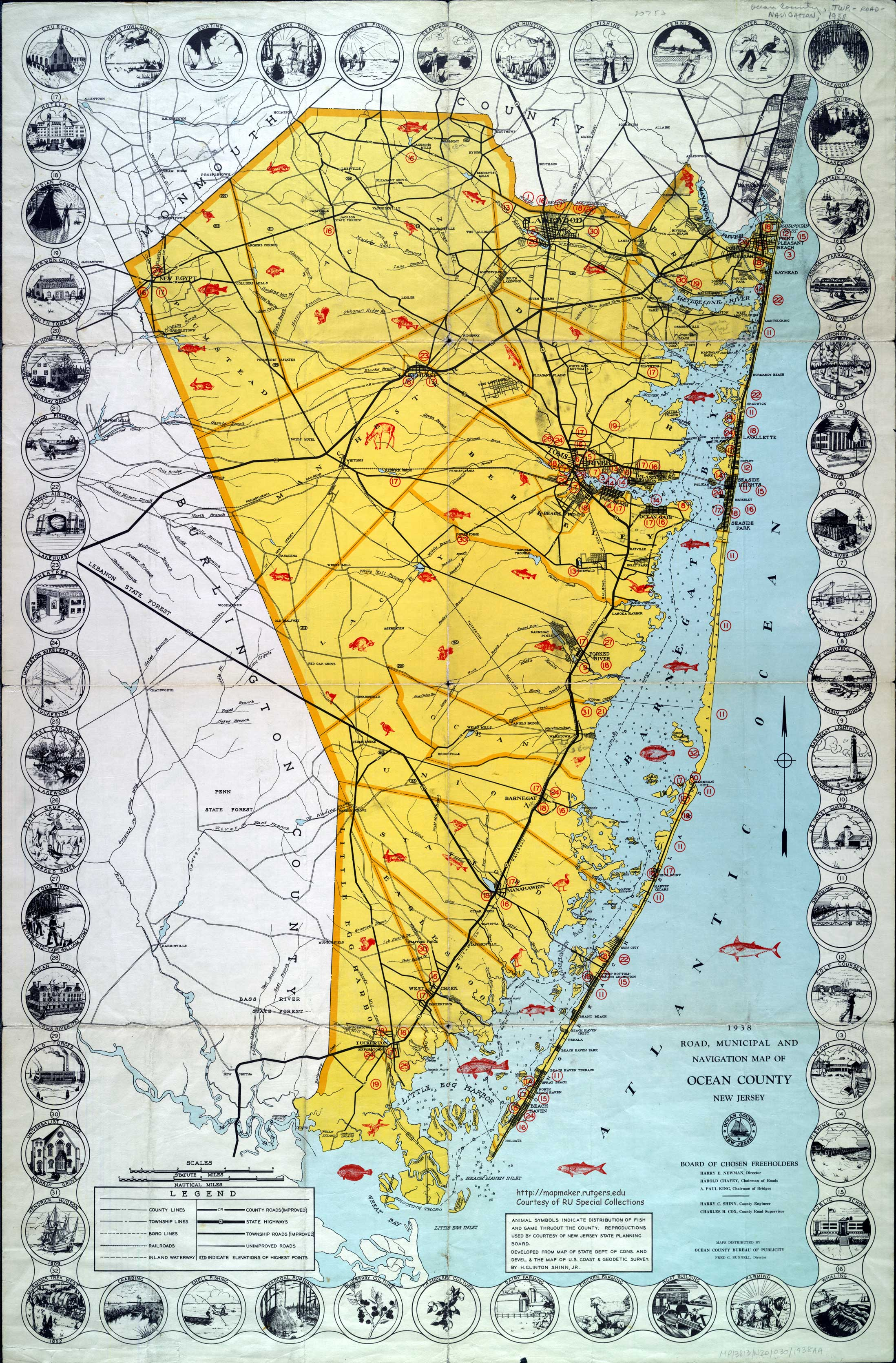 Historical Ocean County New Jersey Maps - County maps of new jersey