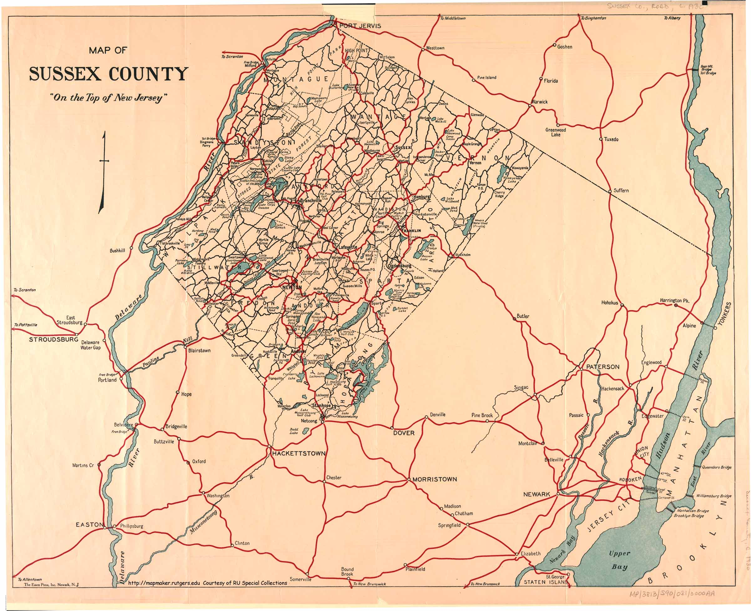 Historical Sussex County New Jersey Maps - County map of new jersey