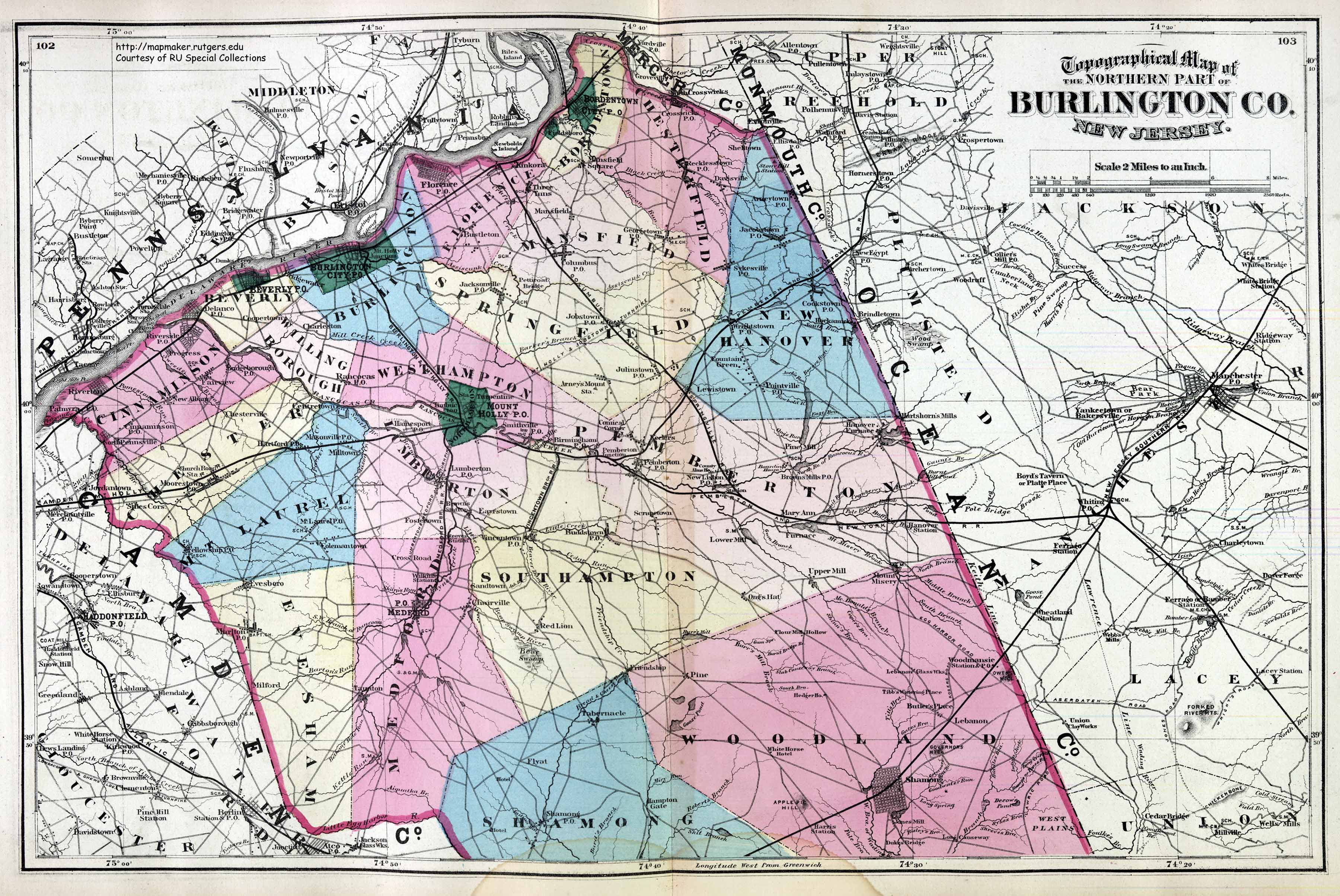 Historical Burlington County New Jersey Maps