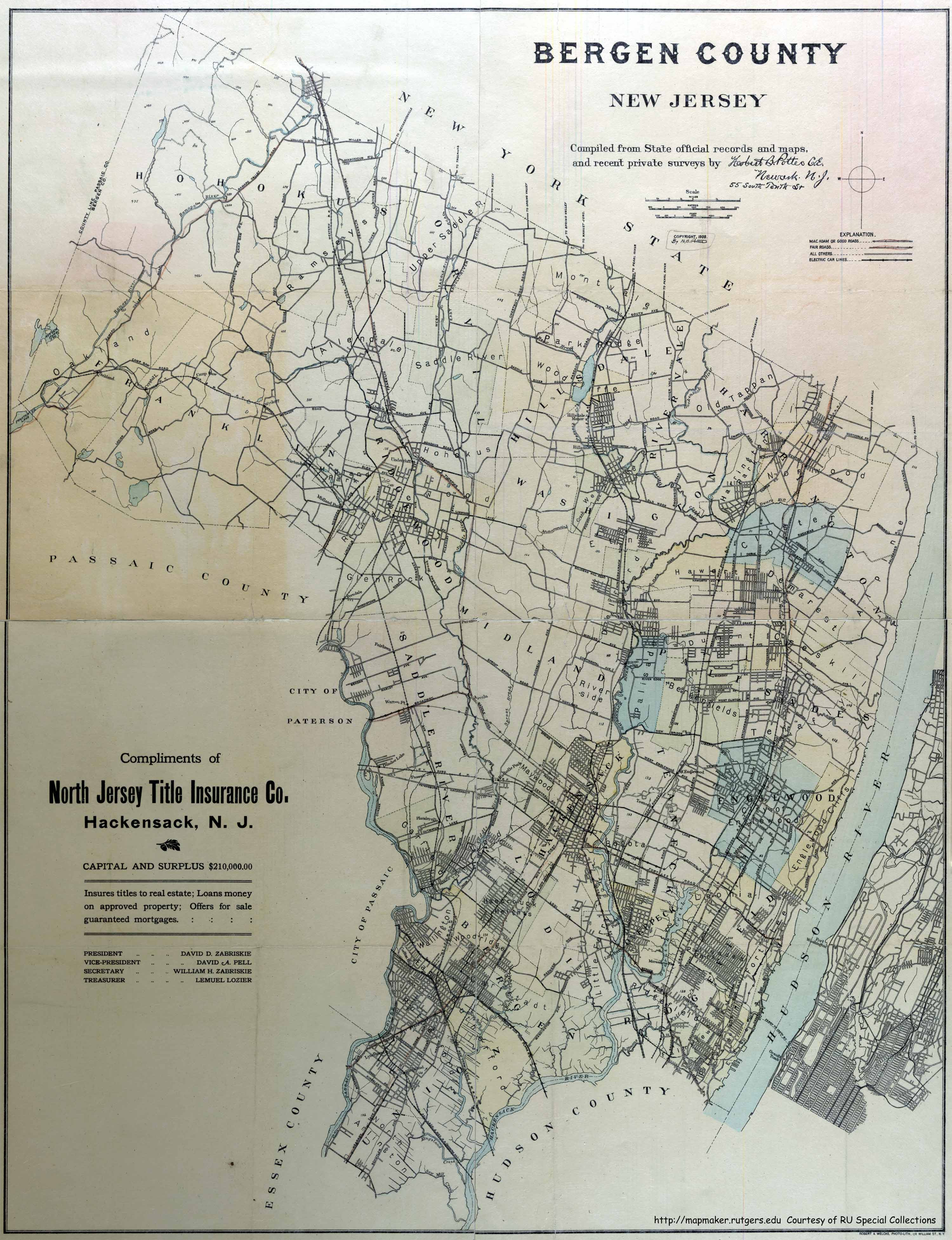Ridgewood New Jersey Map.Historical Bergen County New Jersey Maps